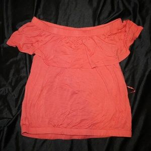 Off The Shoulder Peach Shirt Size Petite Small